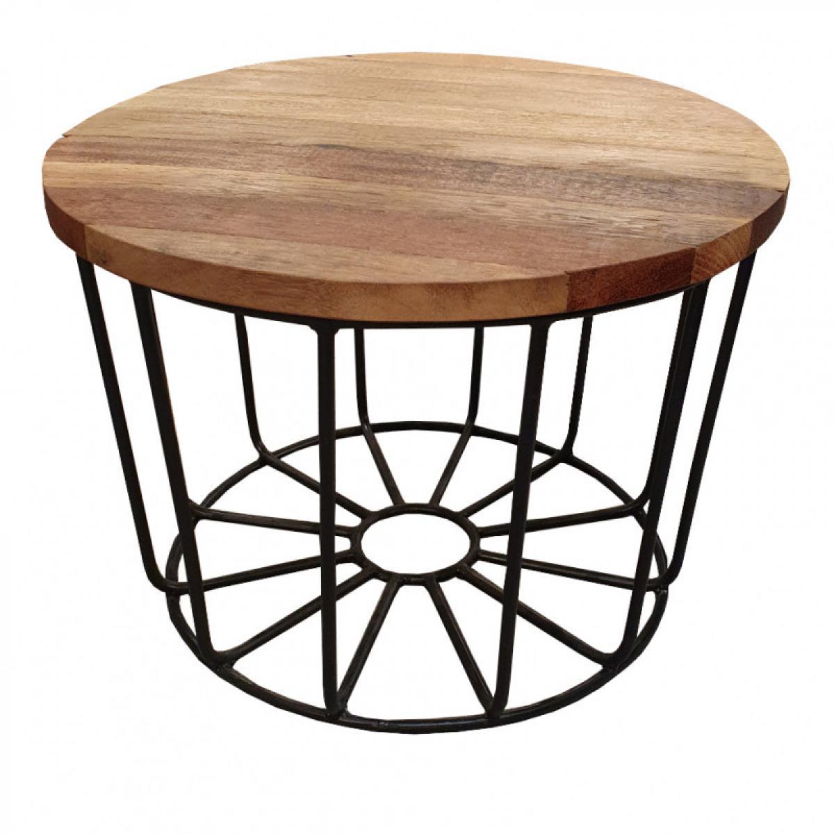 Meubletmoi Table basse ronde en métal et plateau amovible en teck D.50 cm - TEKO