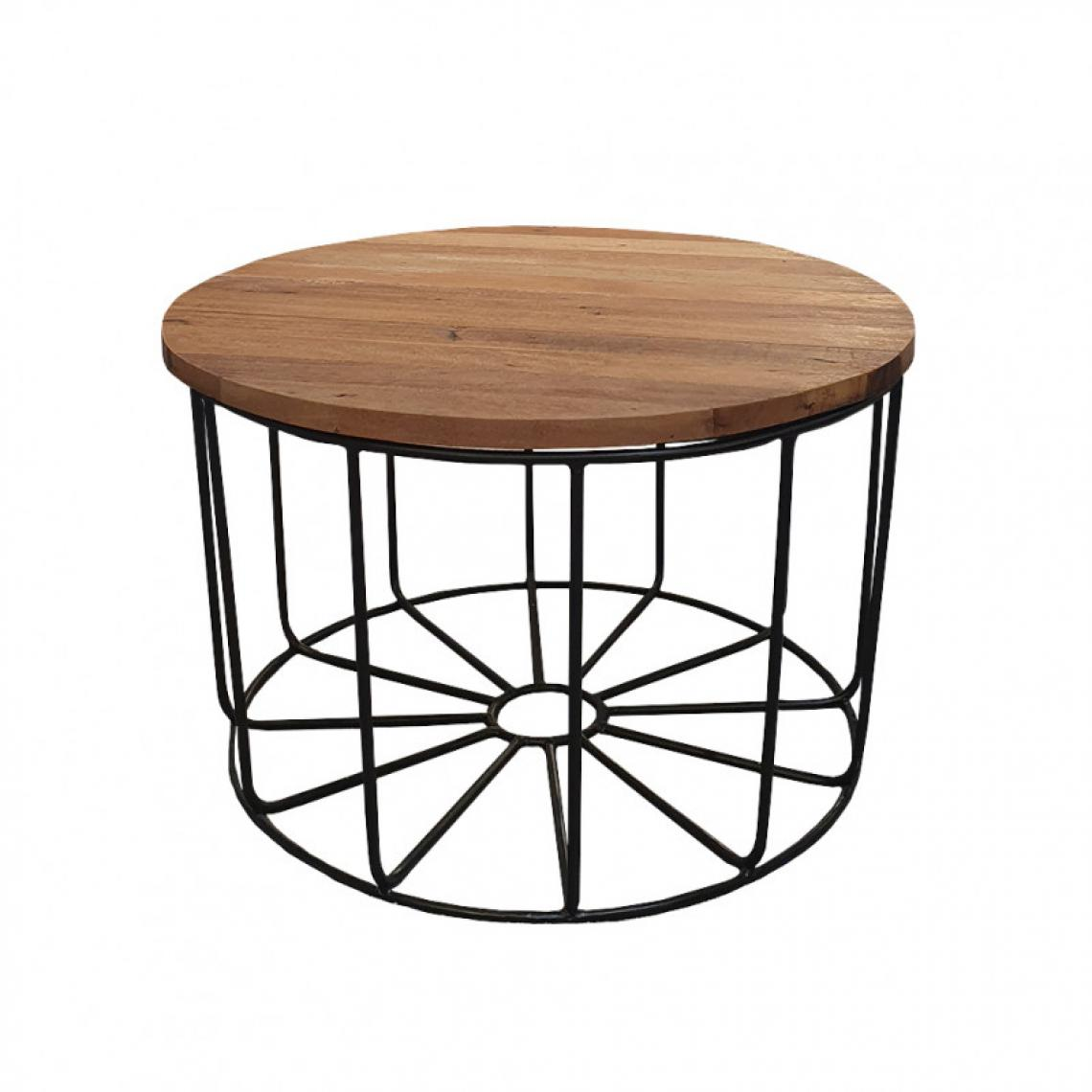 Meubletmoi Table basse ronde en métal et plateau amovible en teck D.65 cm - TEKO