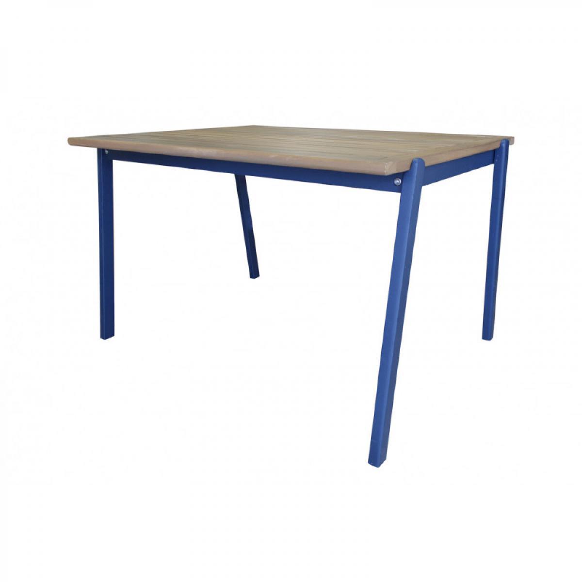 Meubletmoi Table de jardin pour enfant en bois d'acacia bleu - CHARLOTTE 3422