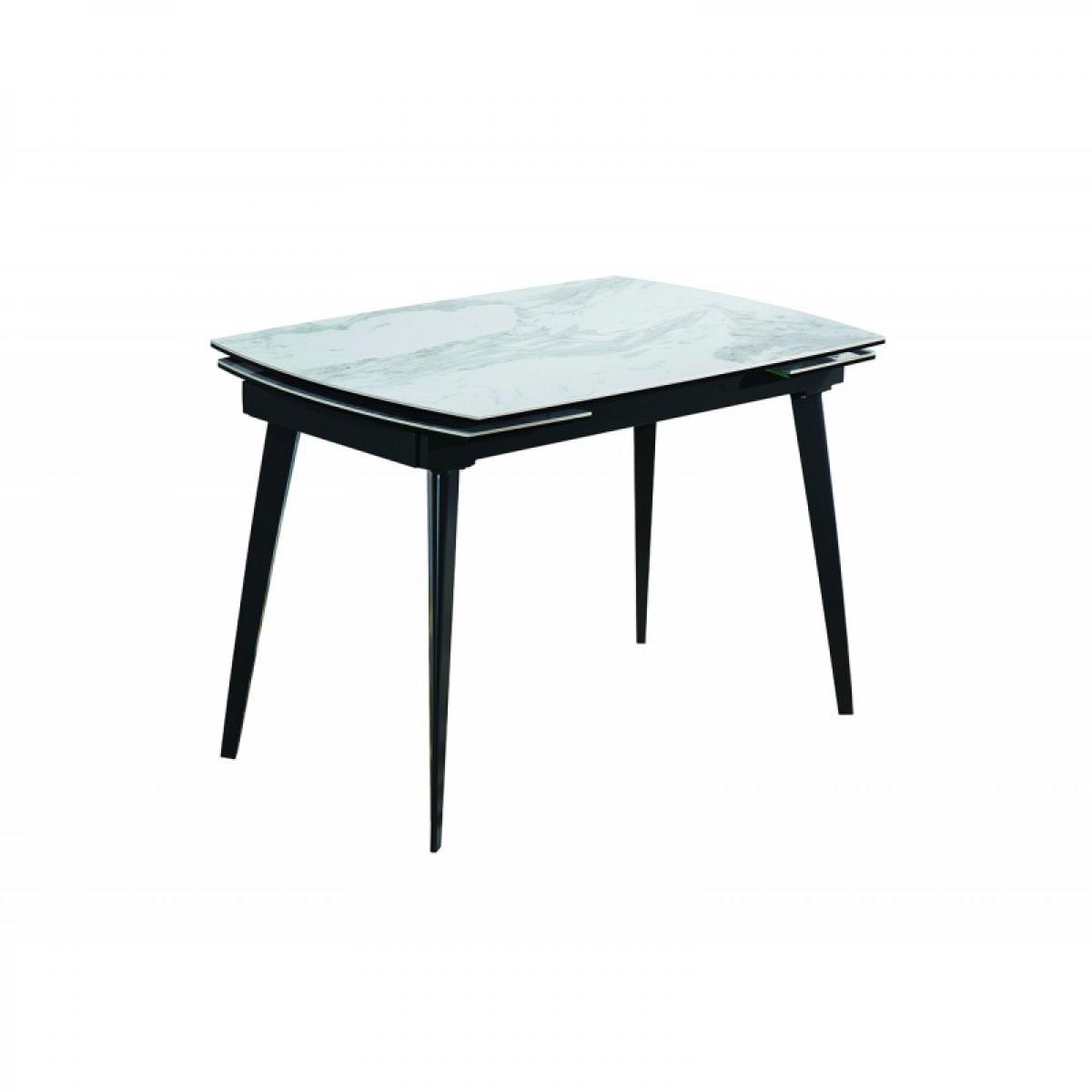 Meubletmoi Table extensible céramique blanc marbré 120 à178 cm - Florida