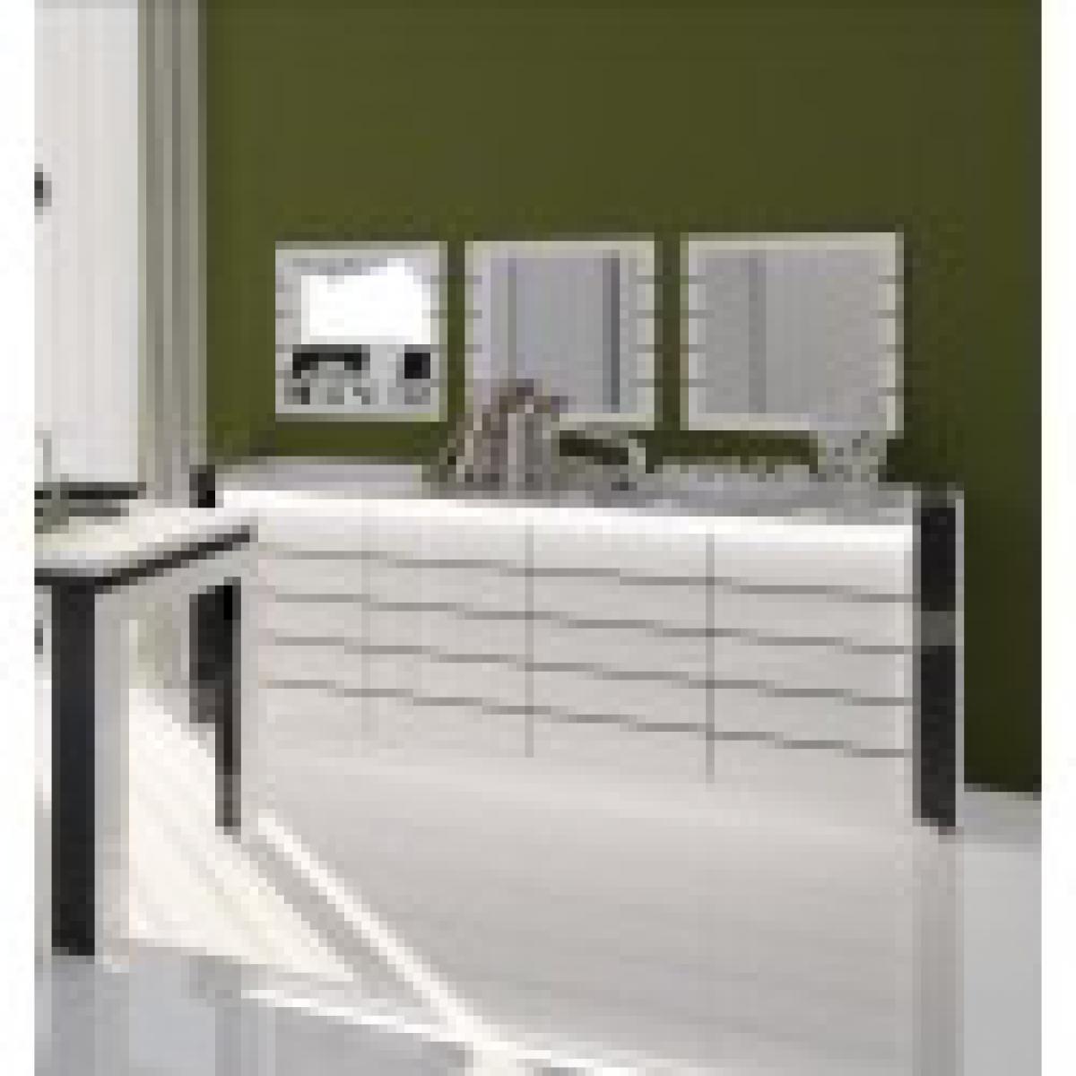 meublorama Buffet, bahut LINA blanc et noir brillant avec LED. Meuble design pour votre salle à manger