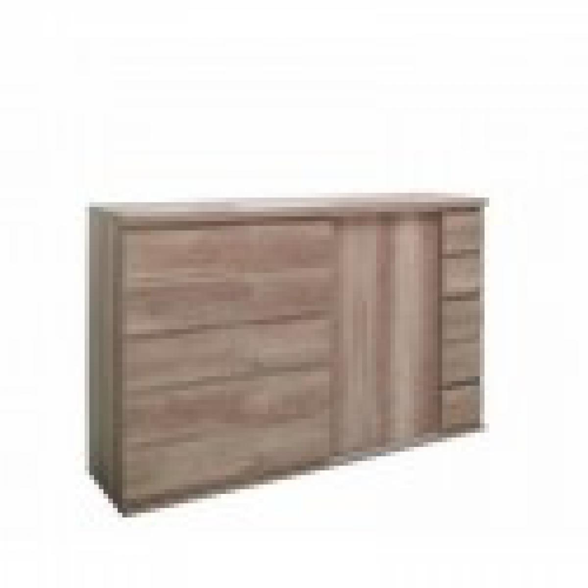 meublorama Buffet, bahut ROMI 2 portes coulissantes coloris chêne dab canyon. Meuble design idéal pour votre salle à manger