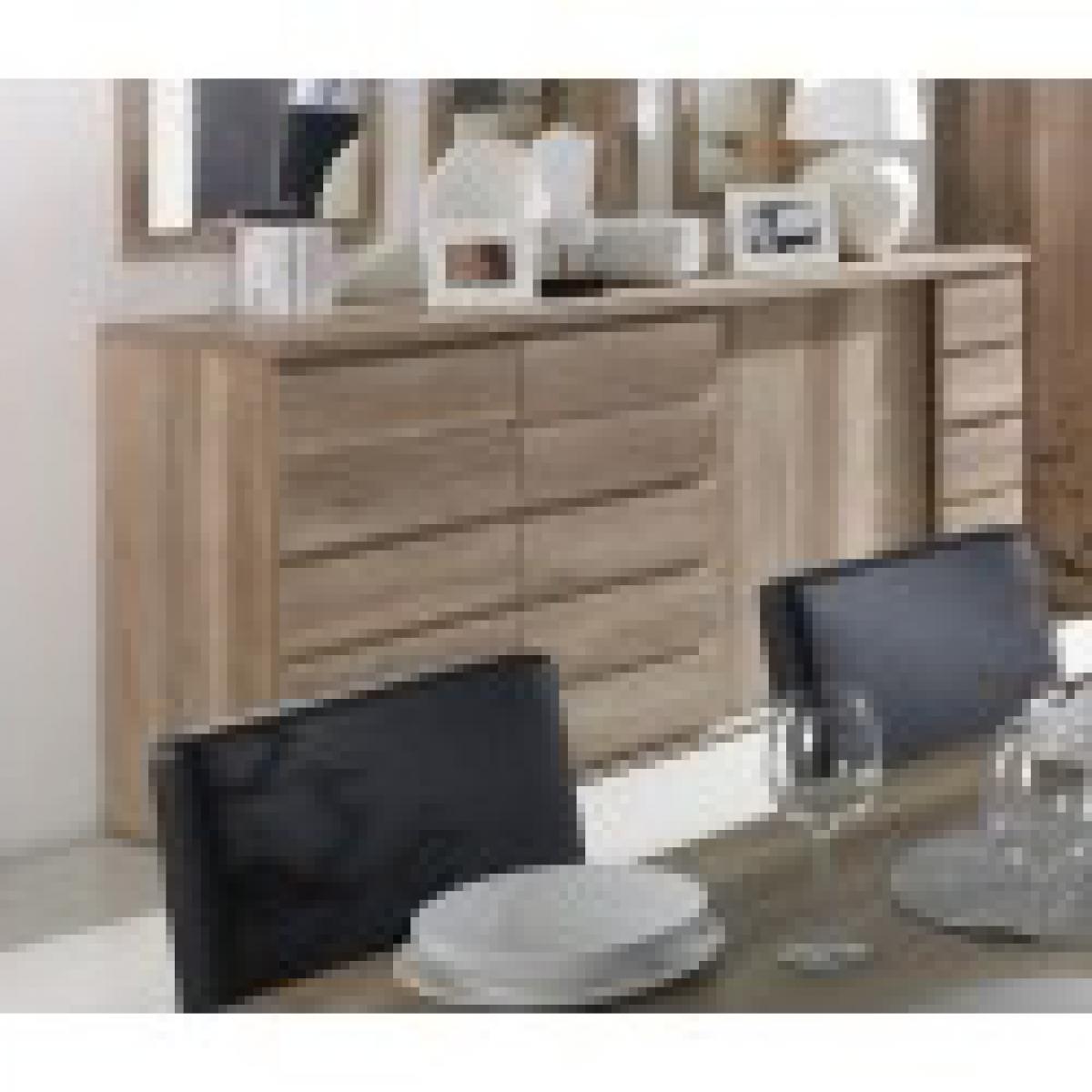 meublorama Buffet, bahut ROMI 3 portes coulissantes coloris chêne dab canyon. Meuble design idéal pour votre salle à manger