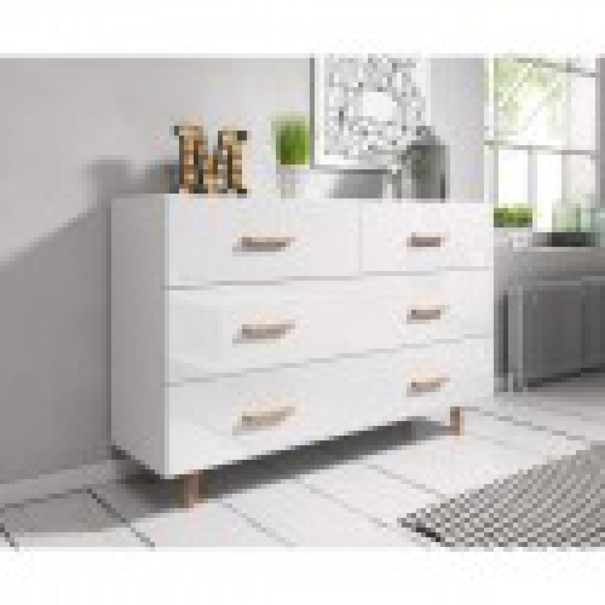meublorama Commode, buffet design EDEN IV, 4 tiroirs, coloris blanc mat et blanc brillant. Type scandinave