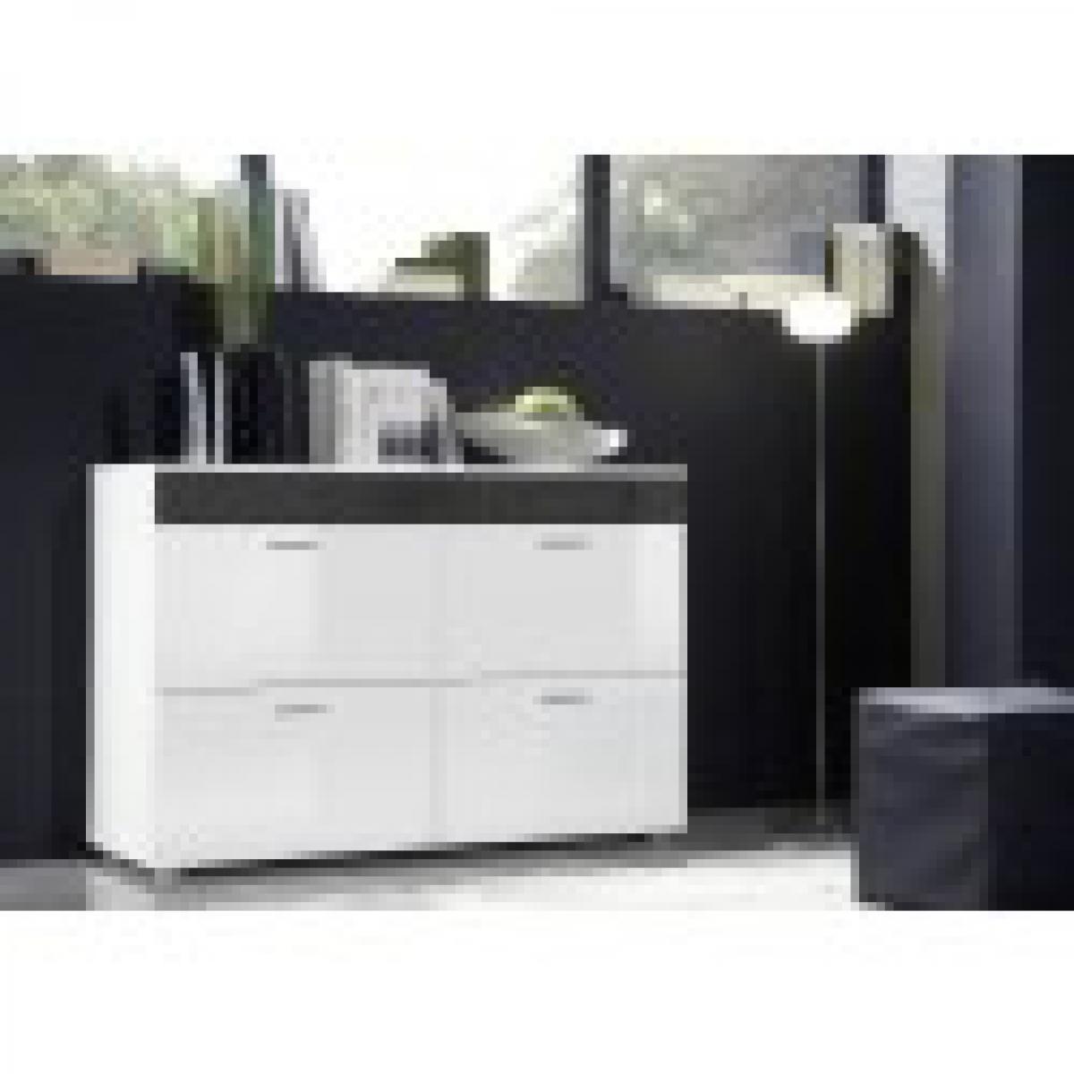meublorama Commode design LOGO. Coloris blanc et blanc brillant avec une bande grise brillante. Quatre portes.