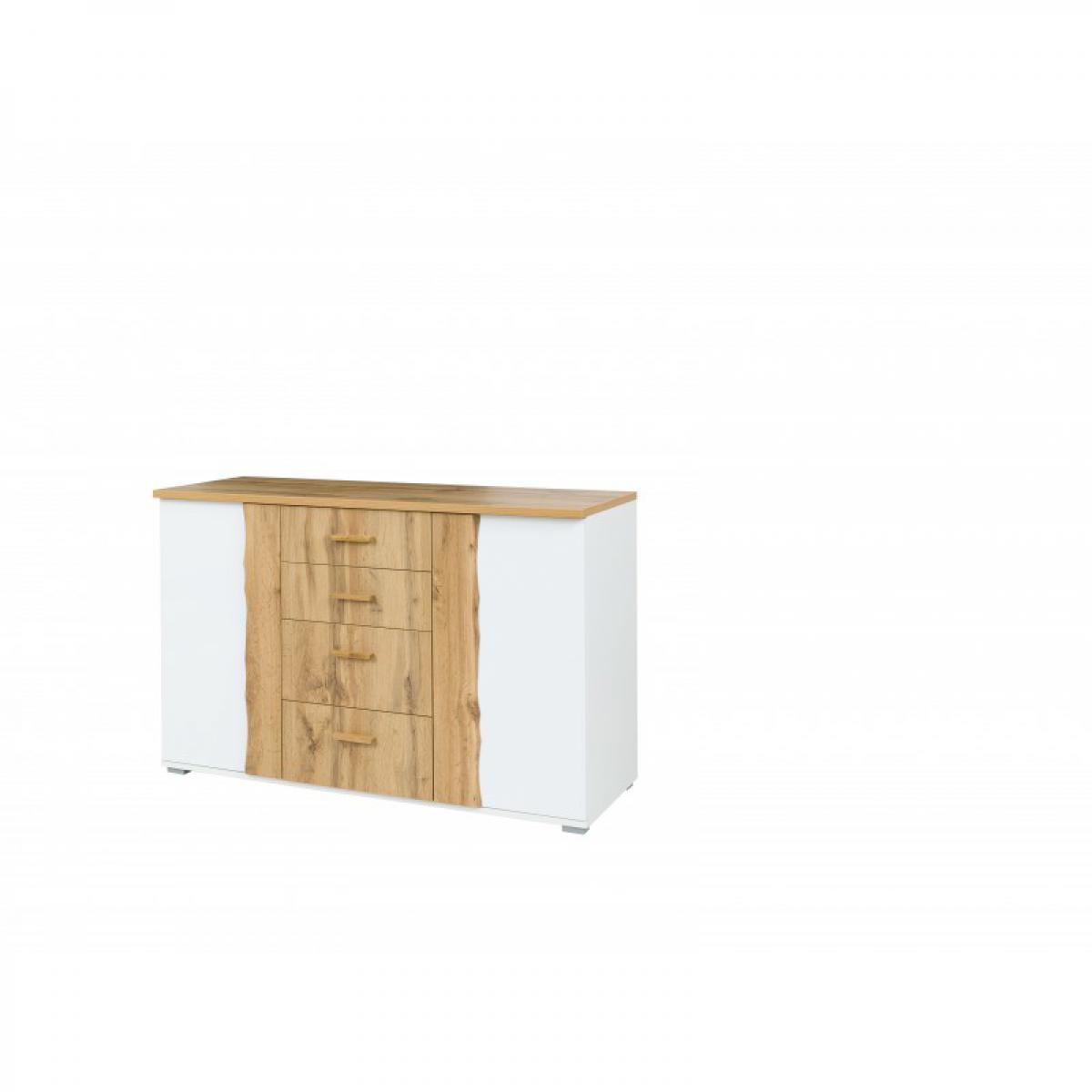 meublorama Commode WOOD. Coloris dab wotan et blanc. Meuble design, idéal pour votre chambre