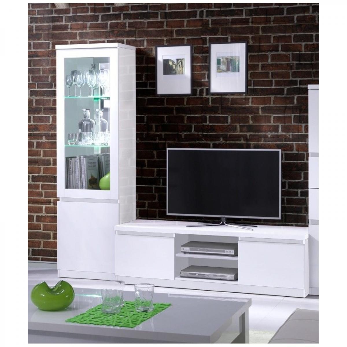 meublorama Ensemble pour votre salon FABIO. Meuble tv hifi + vitrine petit modèle + LED. Meubles design haute brillance