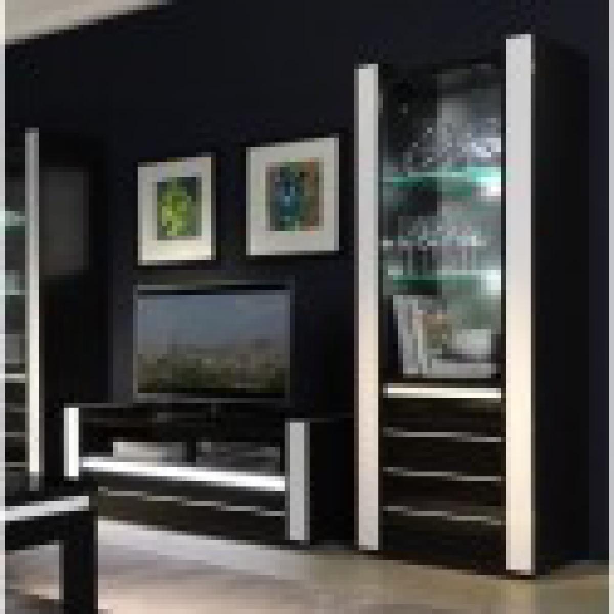meublorama Ensemble pour votre salon LINA. Meuble tv hifi + vitrine petit modèle + LED. Meubles design haute brillance