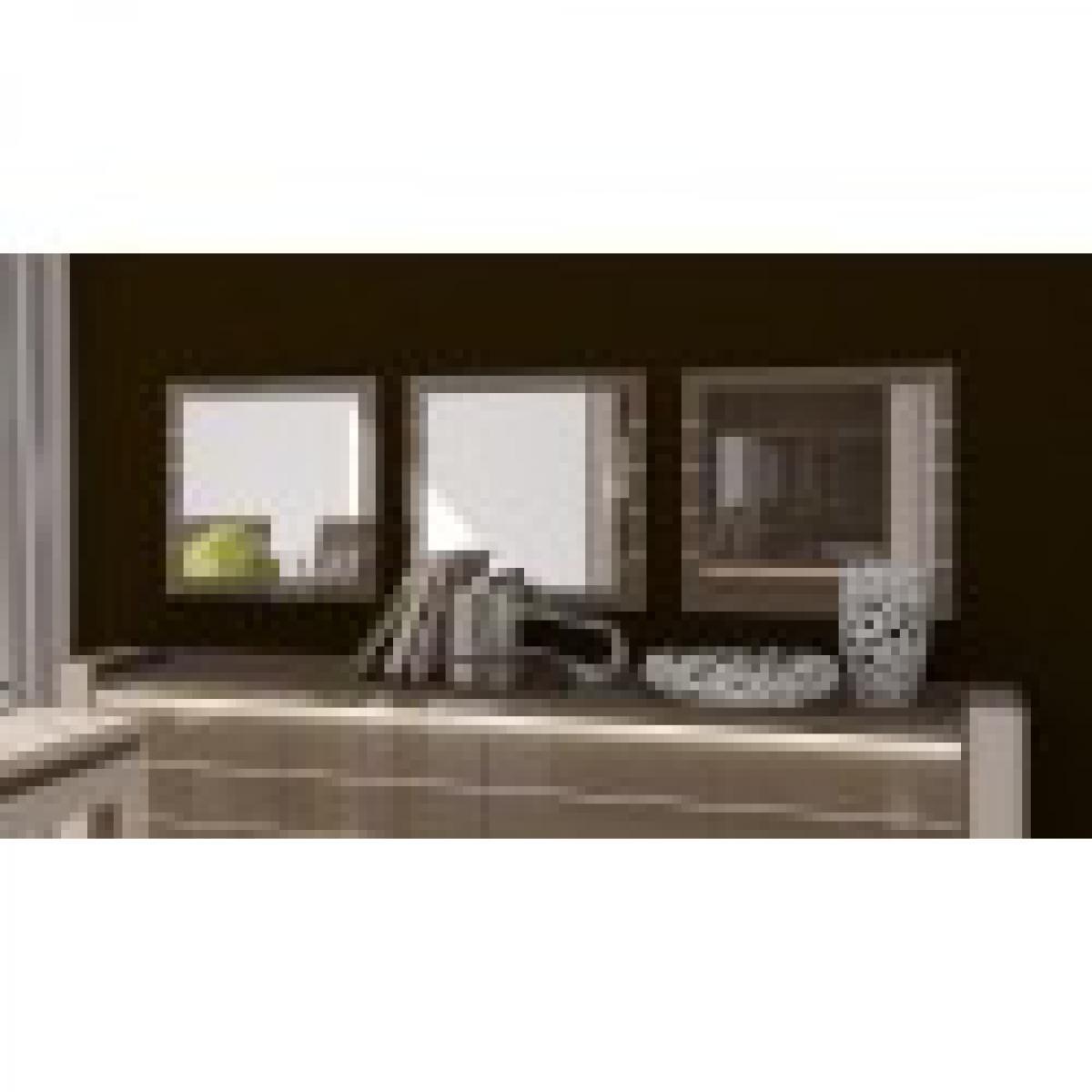 meublorama Miroirs design LINA. Lot de 3. Idéal pour embellir votre salon. Coloris cappuccino et blanc crème