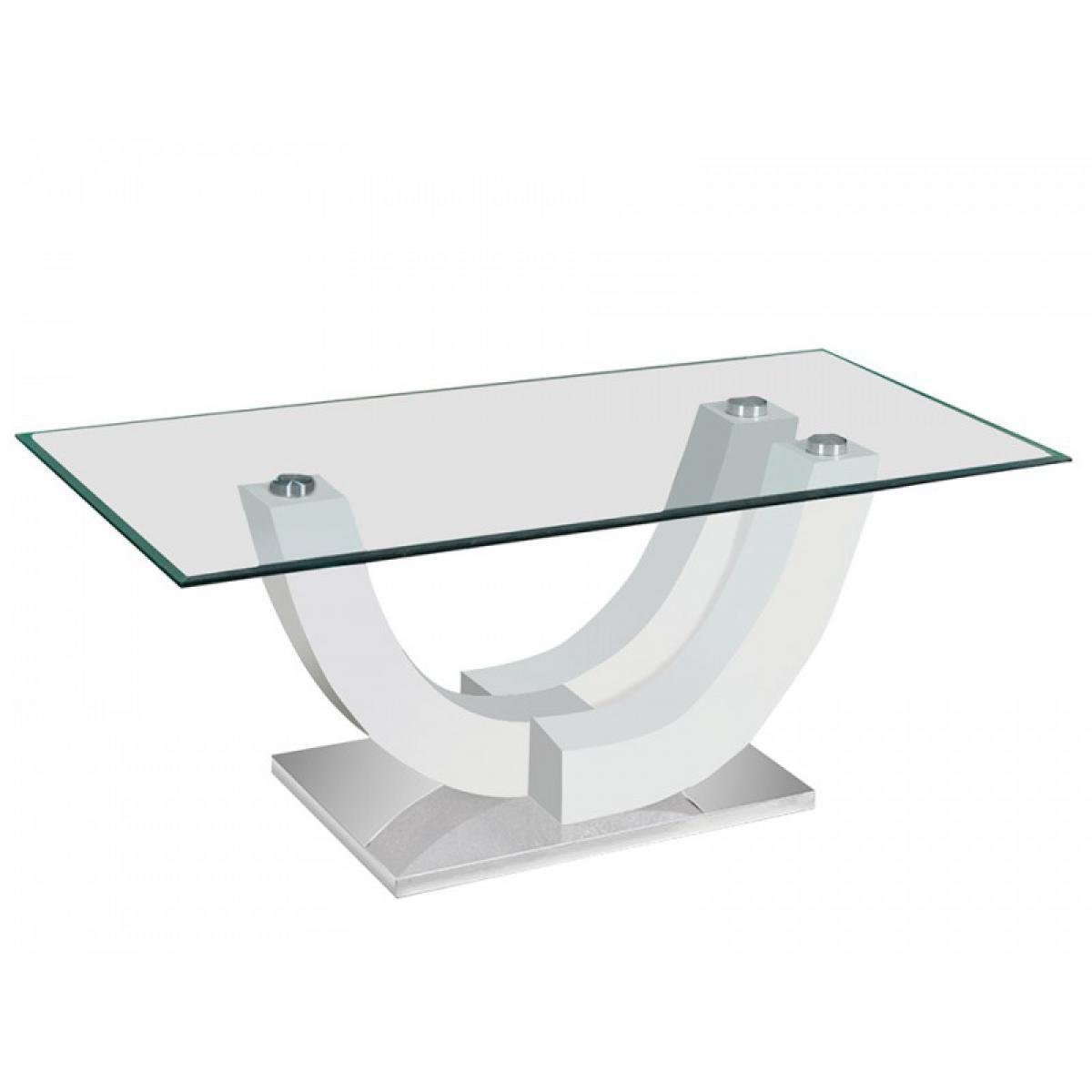 meublorama Table basse ALVARO. Blanc laqué