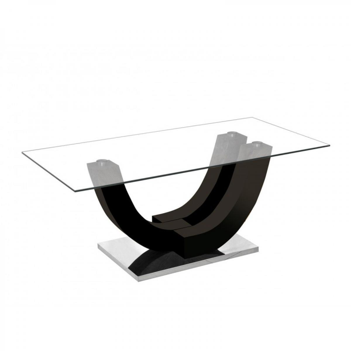 meublorama Table basse ALVARO. Noir laqué