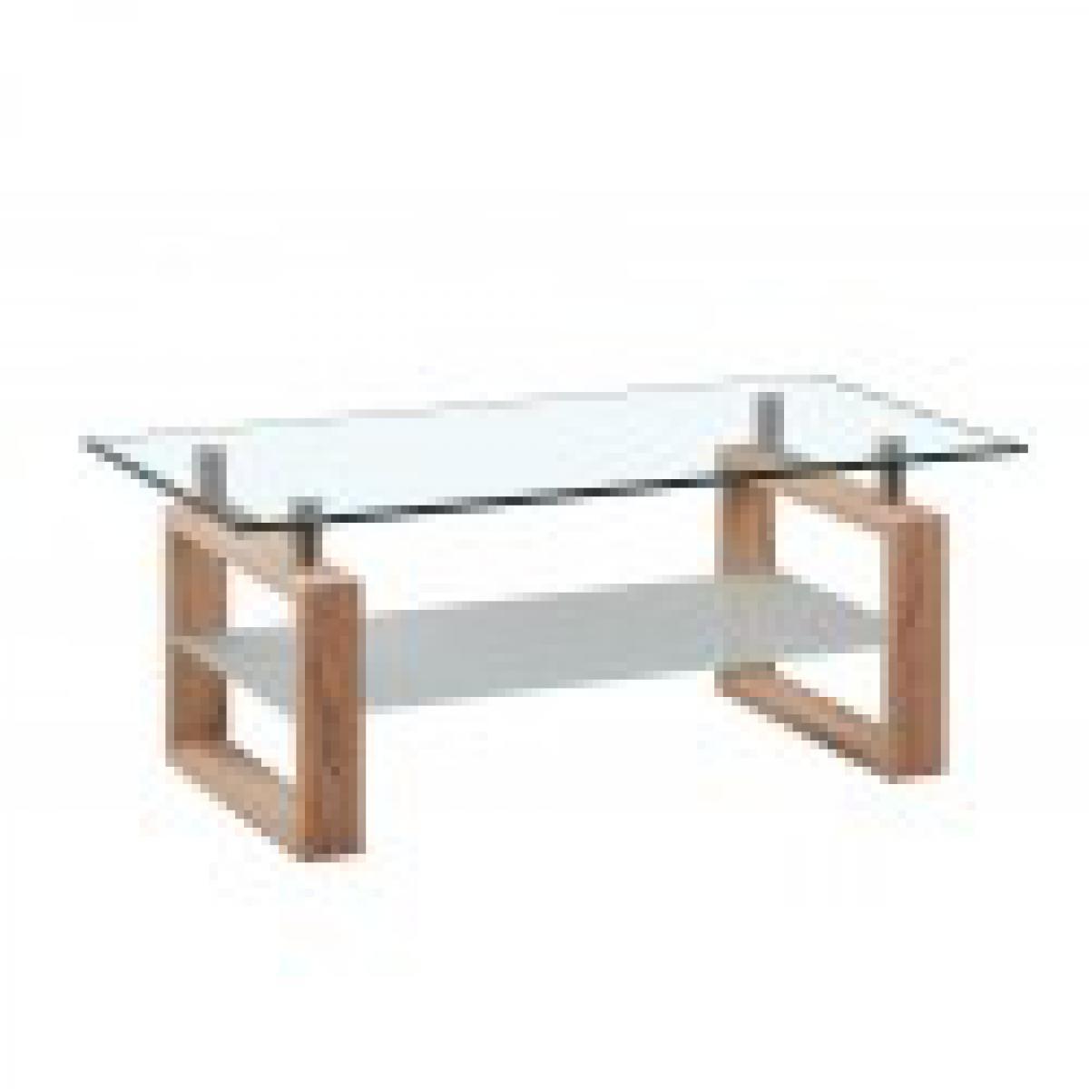 meublorama Table basse AMORA rectangulaire design plateau en verre, coloris chêne.