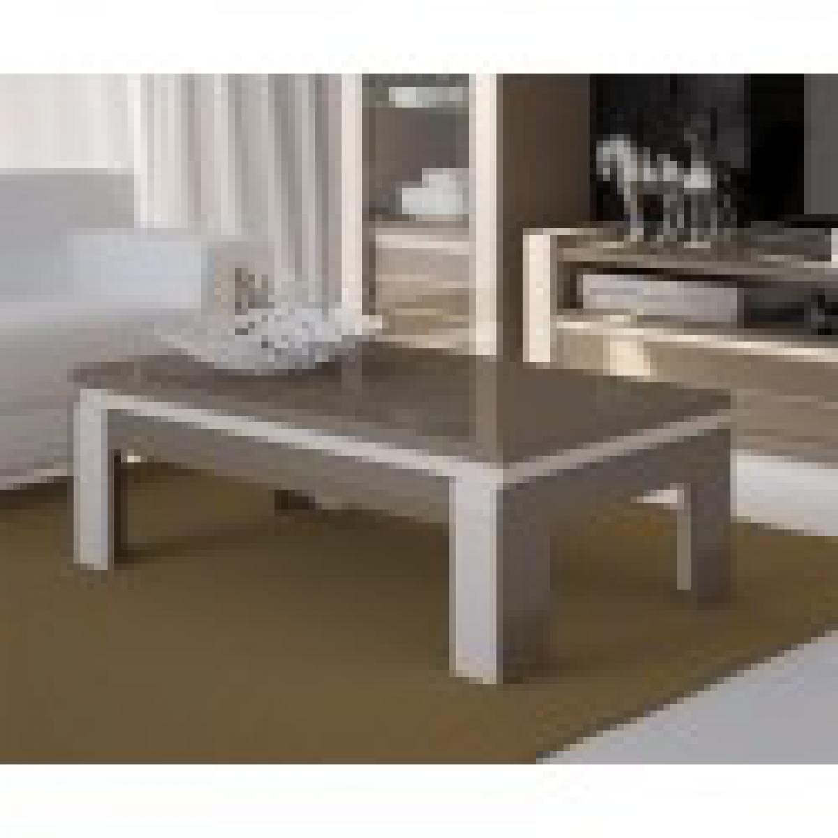 meublorama Table basse design brillante LINA. Coloris cappuccino et blanc crème. OFFRE LIMITEE