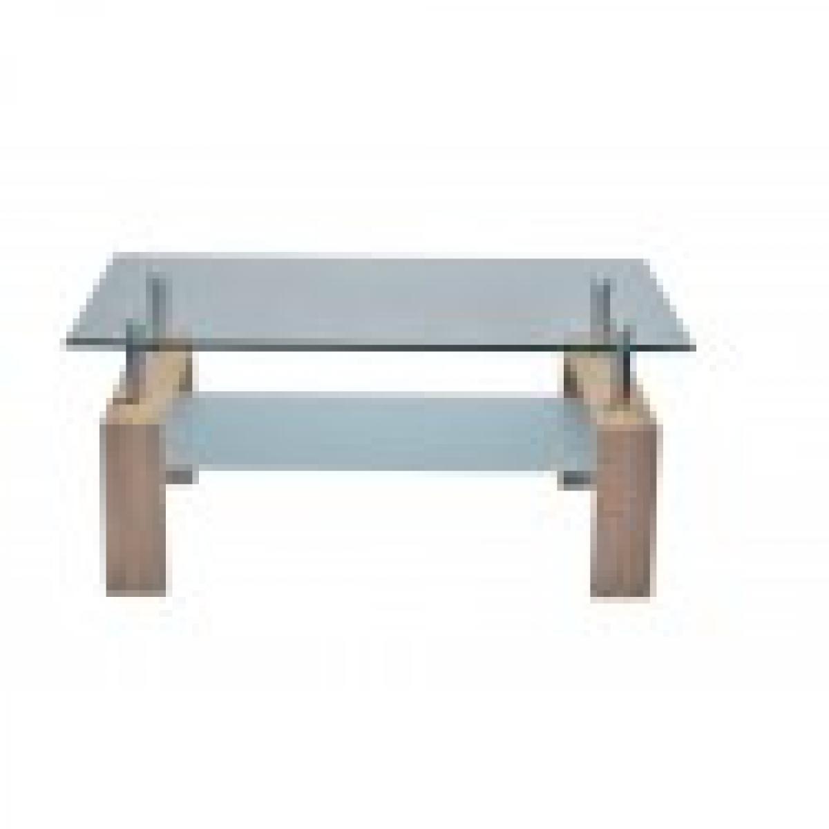 meublorama Table basse FLORENCE rectangulaire design plateau en verre et sous-plateau en verre sablé, pieds coloris chêne.
