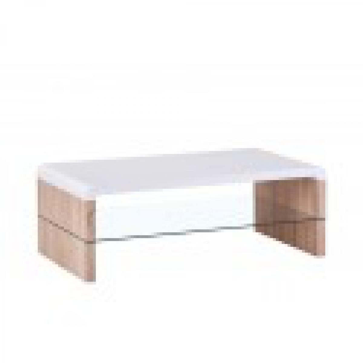 meublorama Table basse LISSABON rectangulaire design sous-plateau en verre, coloris blanc et chêne.