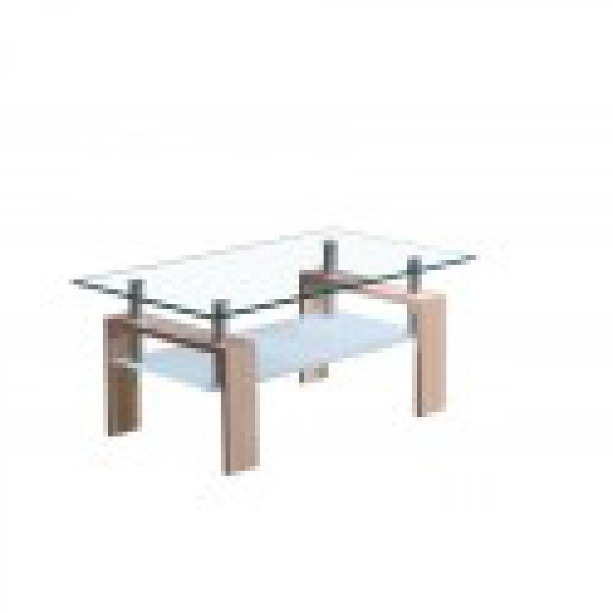meublorama Table basse MADEIRA rectangulaire design plateau en verre et sous-plateau en verre sablé, pieds coloris chêne.
