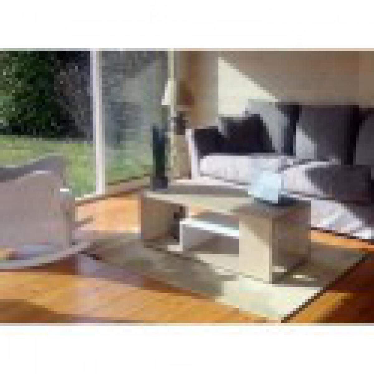 meublorama Table basse MELINA. Meuble moderne et tendance couleur chêne et blanc. Idéal pour votre salon. Fabrication française