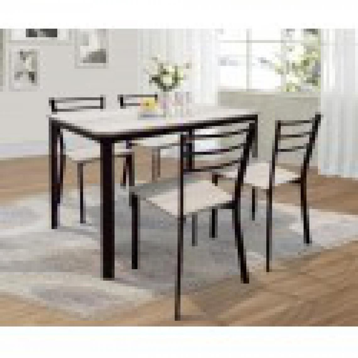 meublorama Table de cuisine et salle à manger + 4 chaises LEEDS. Ensemble repas design métal et bois.