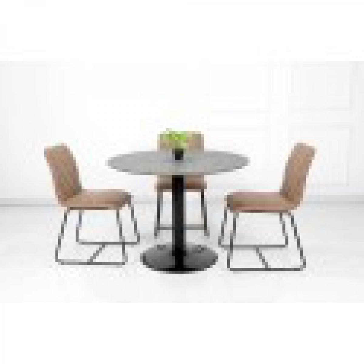 meublorama Table ronde avec pied central JOSUA. Magnifique design pour votre cuisine ou votre salle à manger.