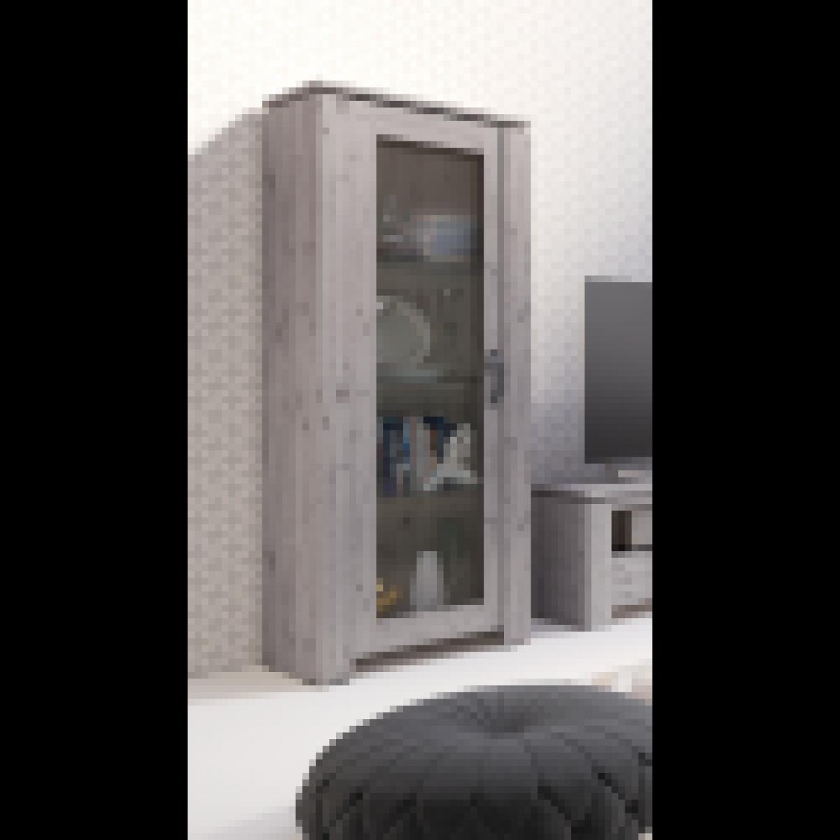 meublorama Vitrine petite modèle IRON une porte vitrée. Coloris chêne naturel Wellington. Style vintage et moderne.