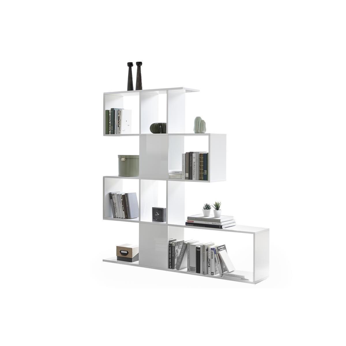 Miliboo Bibliothèque séparateur design blanc laqué brillant H147 cm COMO