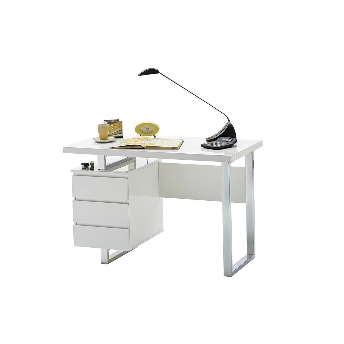 Miliboo Bureau design avec rangements blanc laqué brillant L115 cm KANY