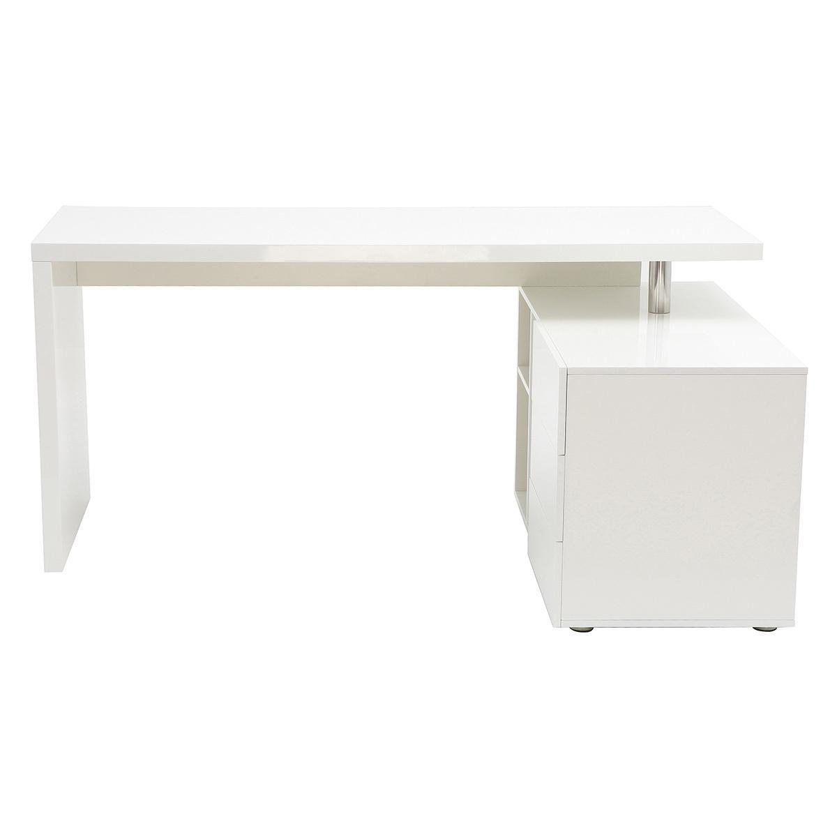 Miliboo Bureau design blanc laqué brillant rangements à droite MAXI