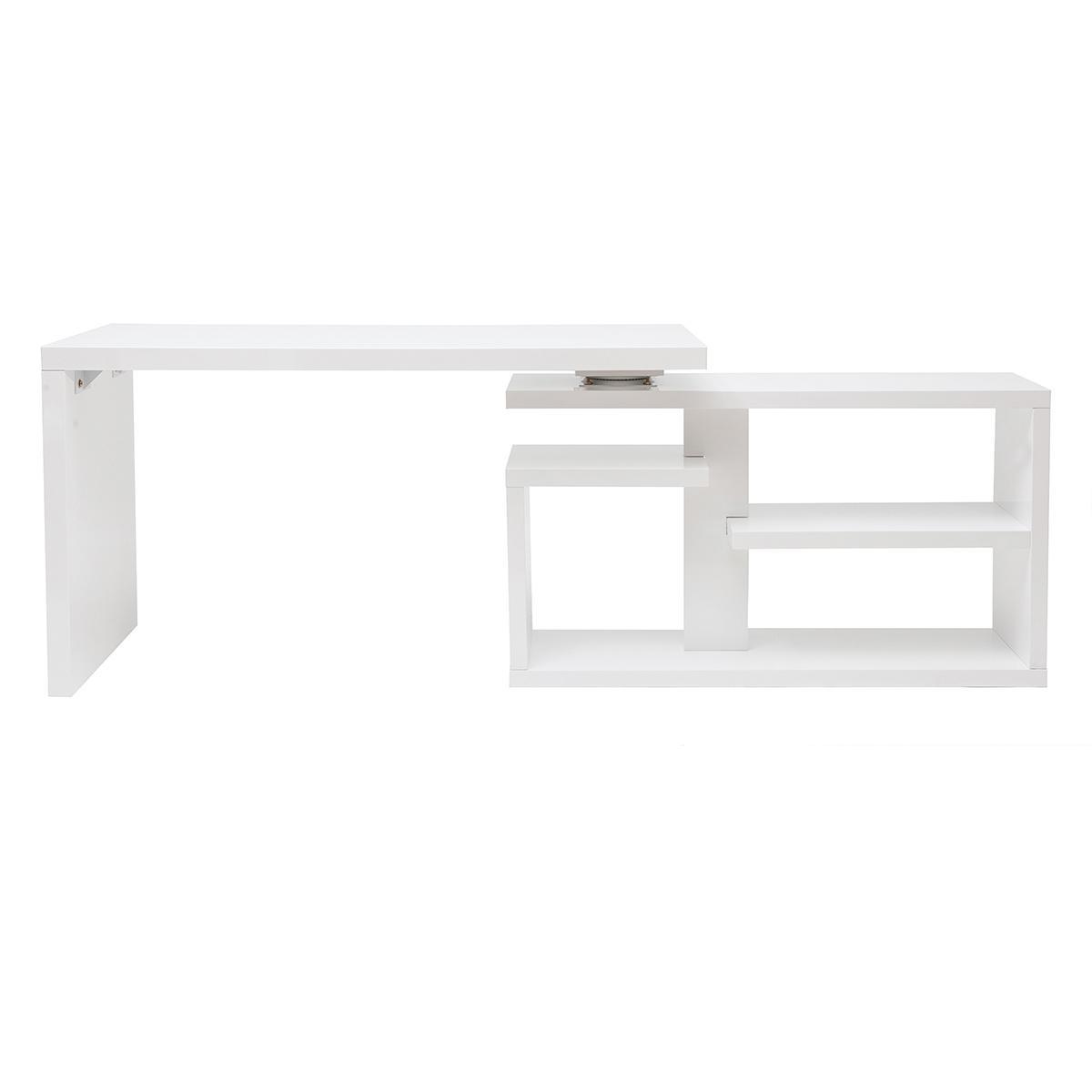 Miliboo Bureau design pivotant laqué blanc brillant L140 cm HALTON