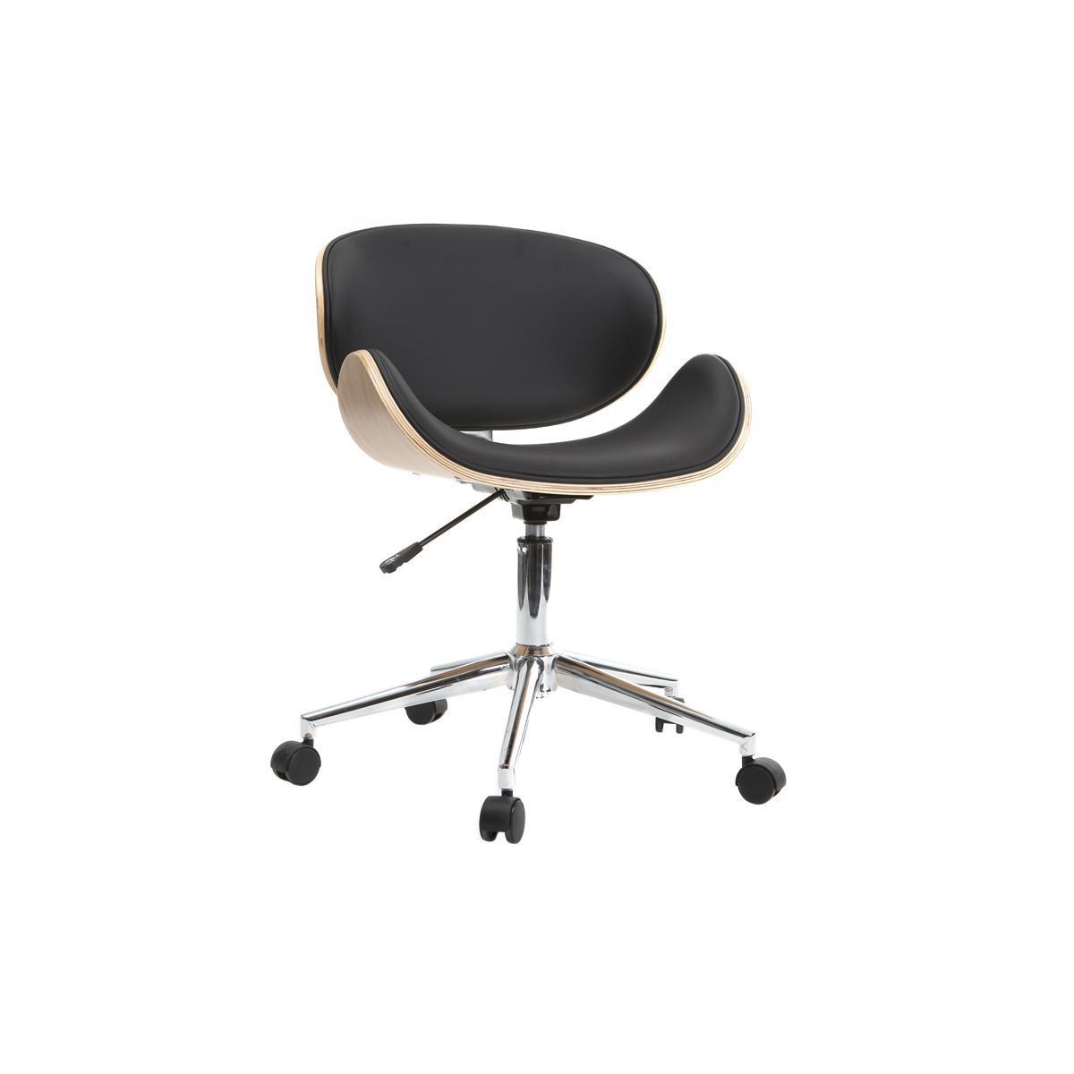 Miliboo Chaise de bureau design noir et bois clair WALNUT
