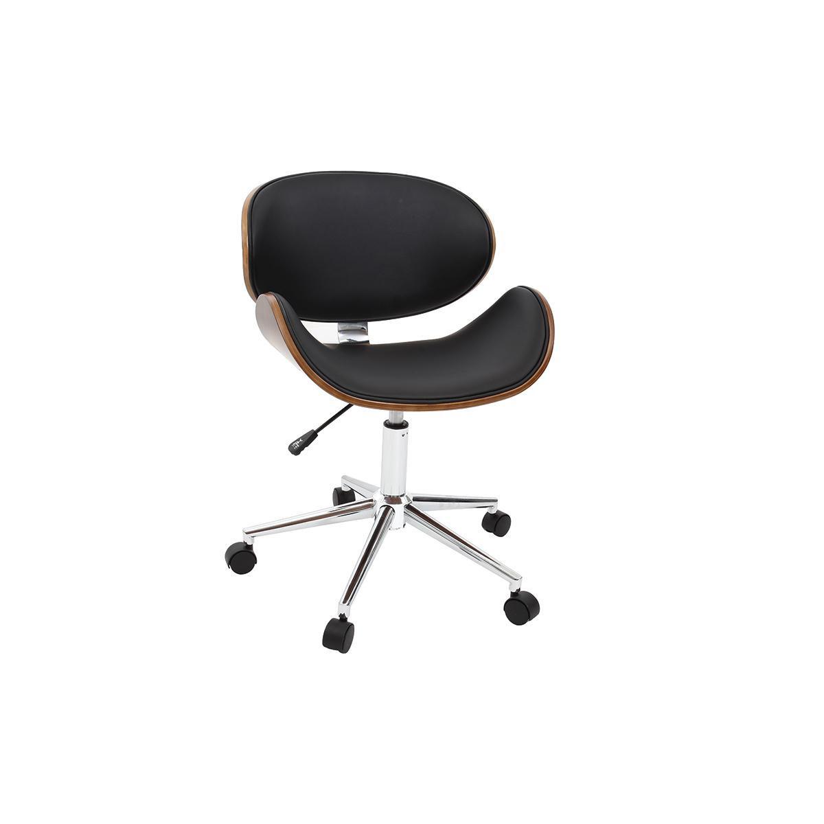 Miliboo Chaise de bureau design noir et bois foncé WALNUT