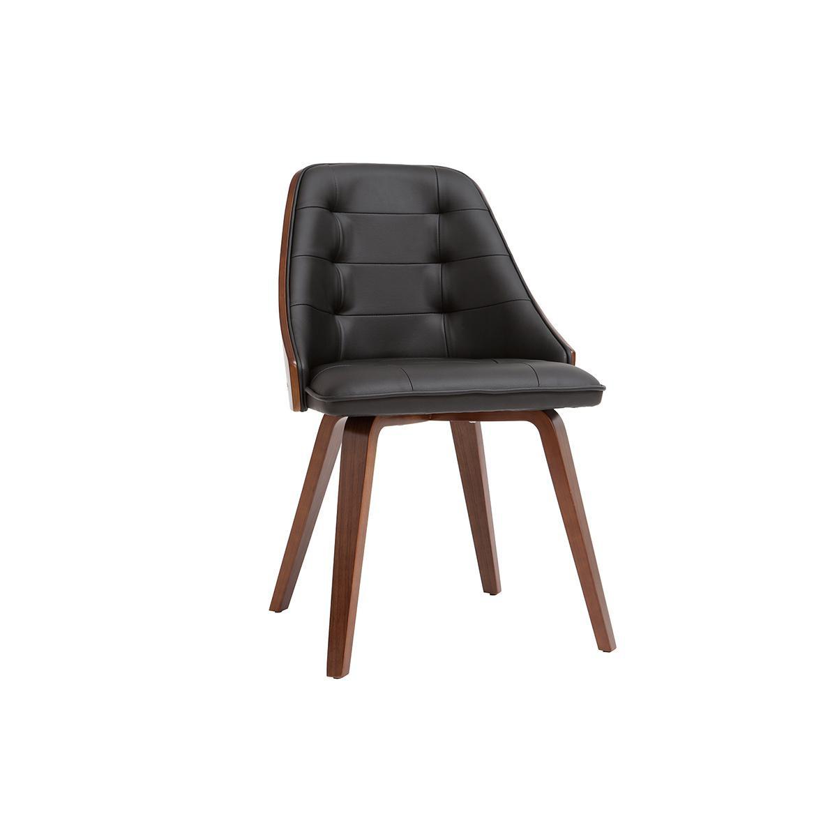 Miliboo Chaise design bimatière noir et bois foncé FLUFFY