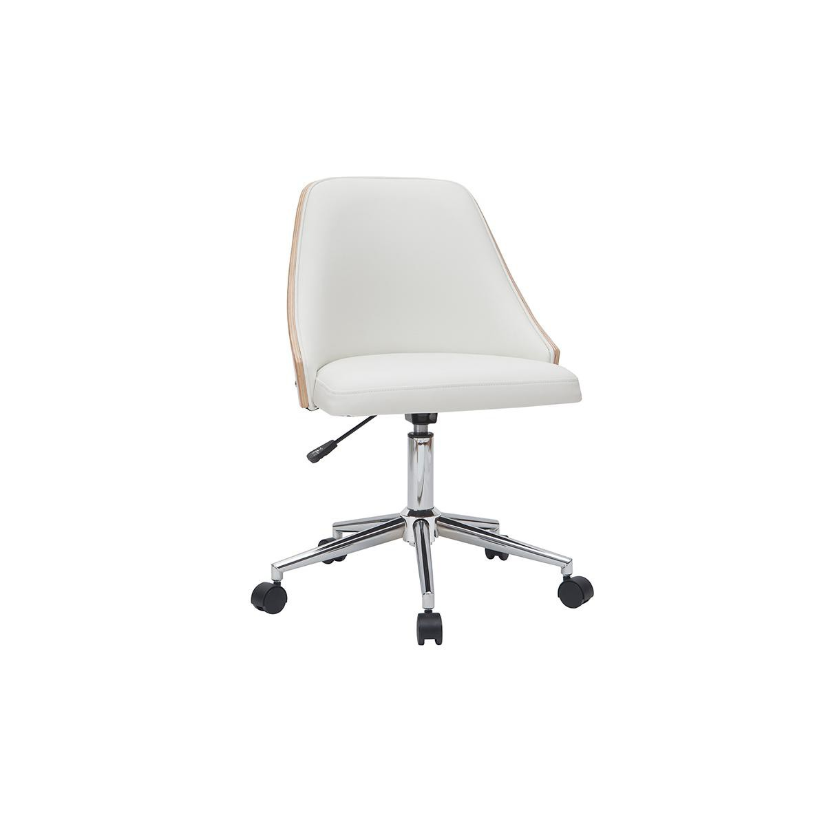 Miliboo Fauteuil de bureau design blanc et bois clair QUINO