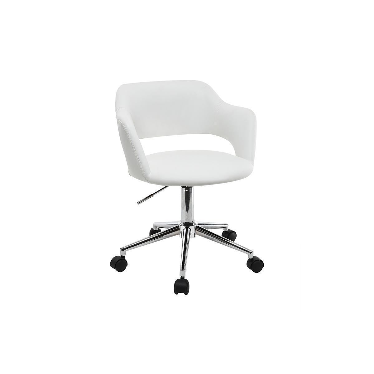 Miliboo Fauteuil de bureau design blanc JESSY