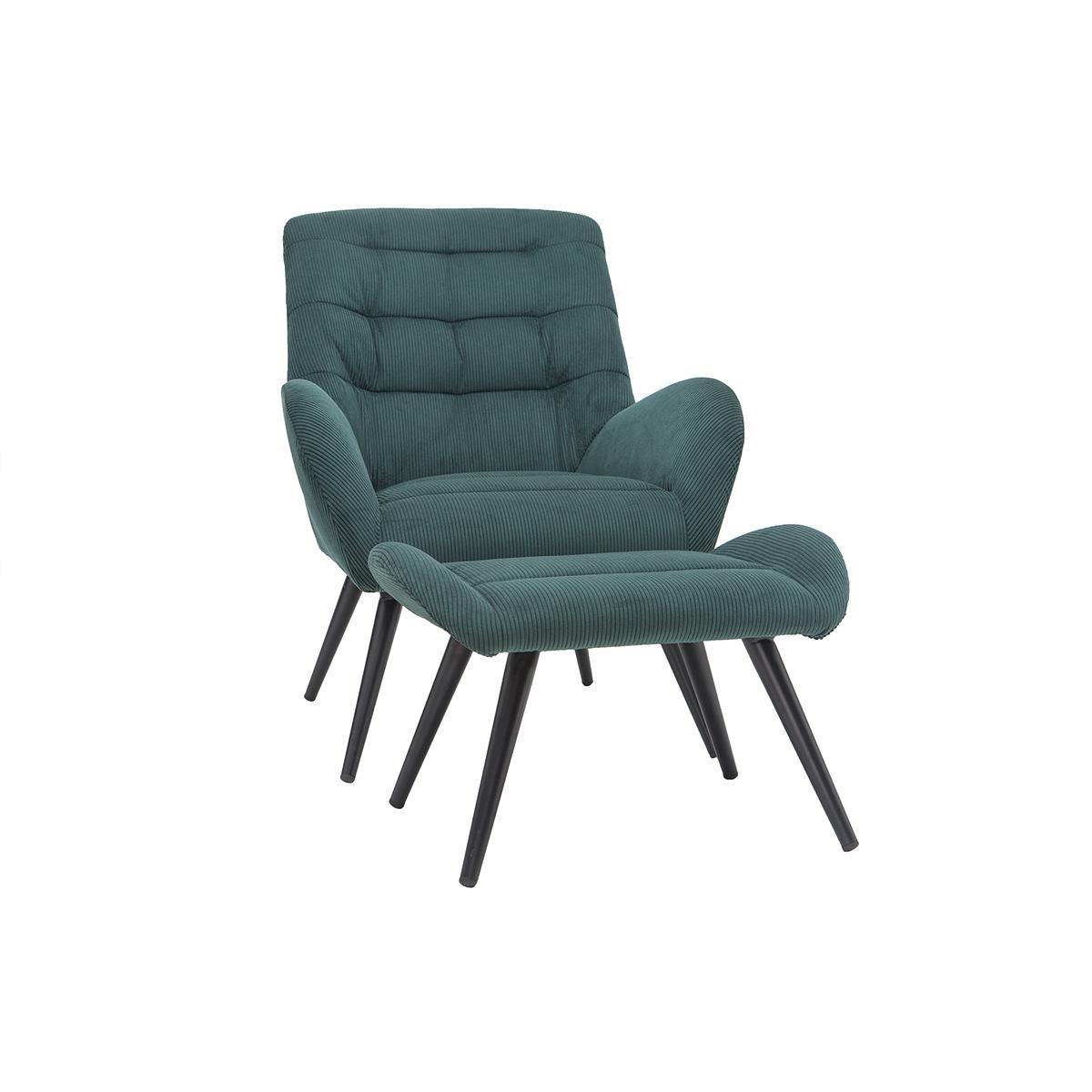 Miliboo Fauteuil et repose-pieds design en velours côtelé vert ZOE
