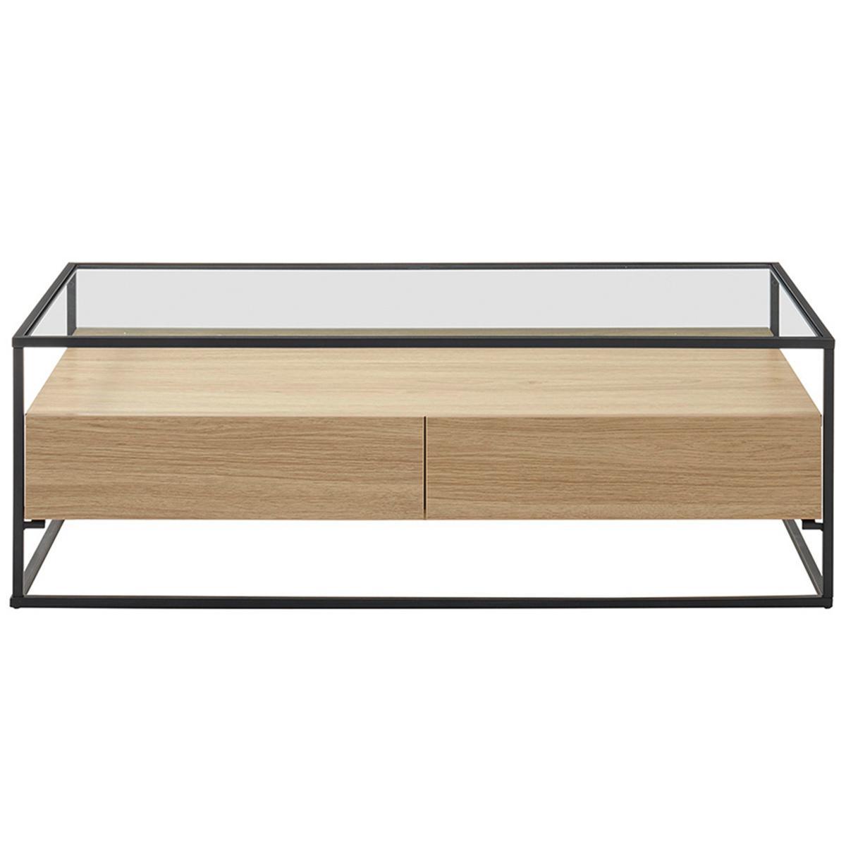 Miliboo Table basse design avec plateau verre et tiroirs bois FINN
