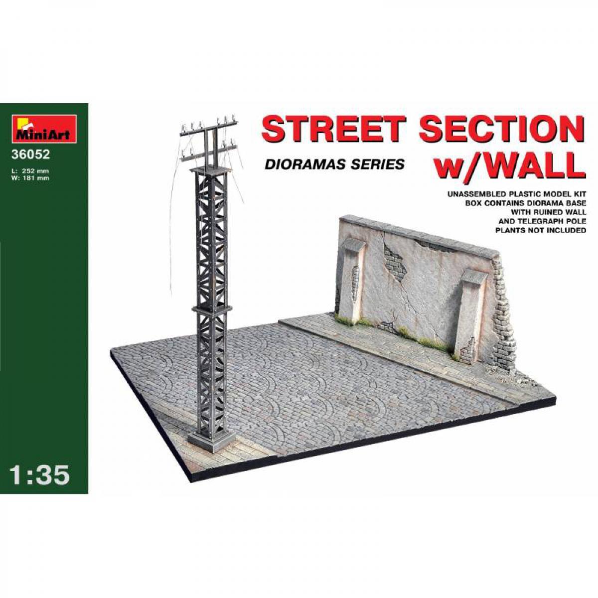 Mini Art Street Section W/wall - Décor Modélisme