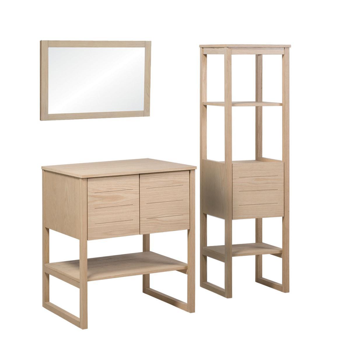 Mob-In Meuble de Salle De Bain Chêne 70 cm + Colonne de rangement Chêne 145 cm ATOLL + Miroir