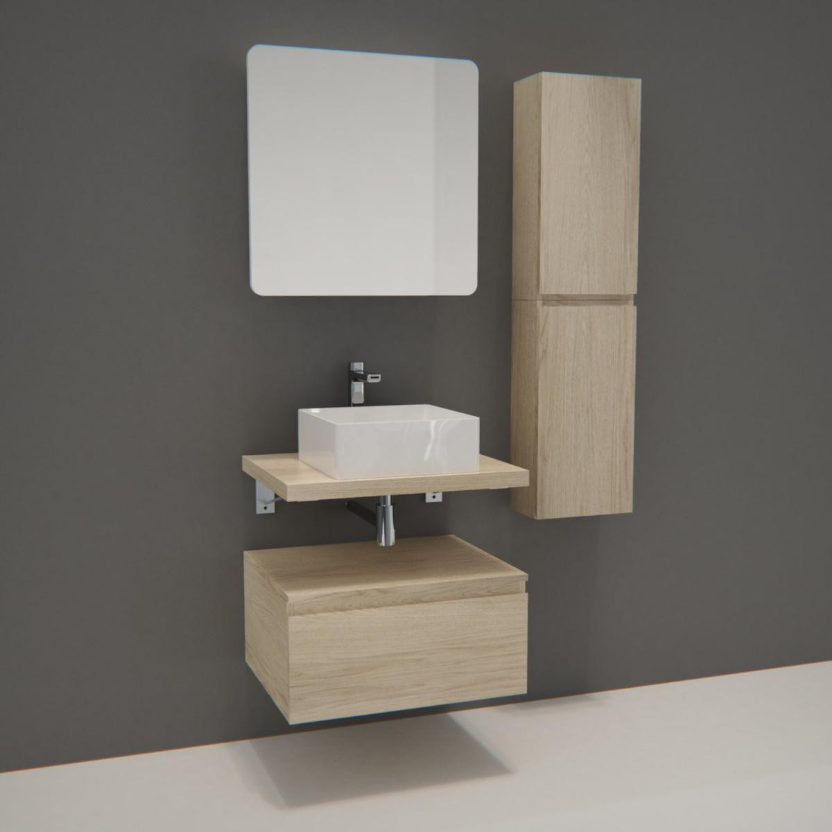 Mob-In Meuble de Salle de Bain WILL - Plan suspendu 60 cm + Vasque + Armoire de toilette + Equerres + Modules de rangement