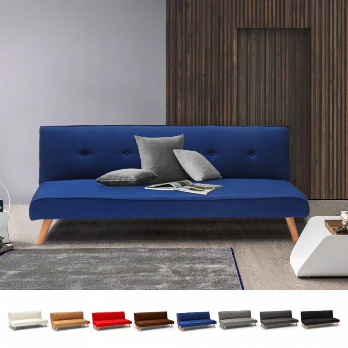 Modus Sofo Canapé-lit convertible 2 places Larimar en tissu pour le salon et le séjour, Couleur: Bleu