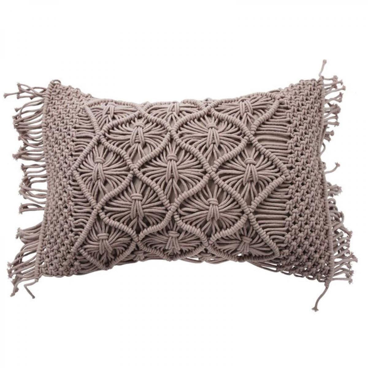 Mon Beau Tapis MACRAME - Coussin en coton tressé violet clair 40x60