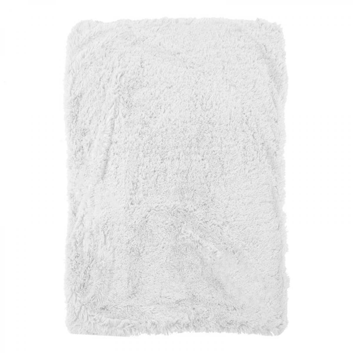 Mon Beau Tapis NEO YOGA - Plaid à poils longs extra-doux blanc 120x150