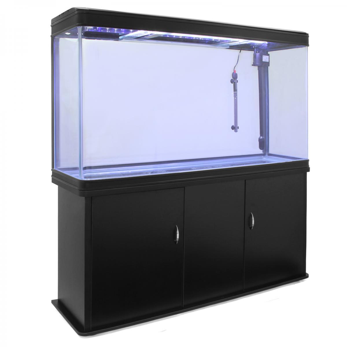 Monstershop MonsterShop ? Aquarium à bords Noir de 300 Litres, Meuble de Support NOIR, d?une dimension totale de 143,5 cm de Haut x