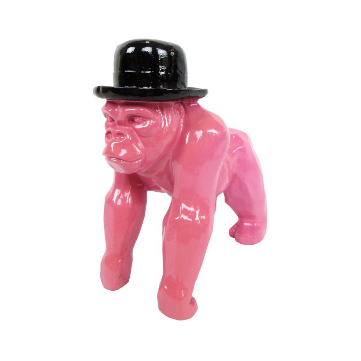 Multideco Statue en résine singe gorille fuchsia en origami - 25 cm