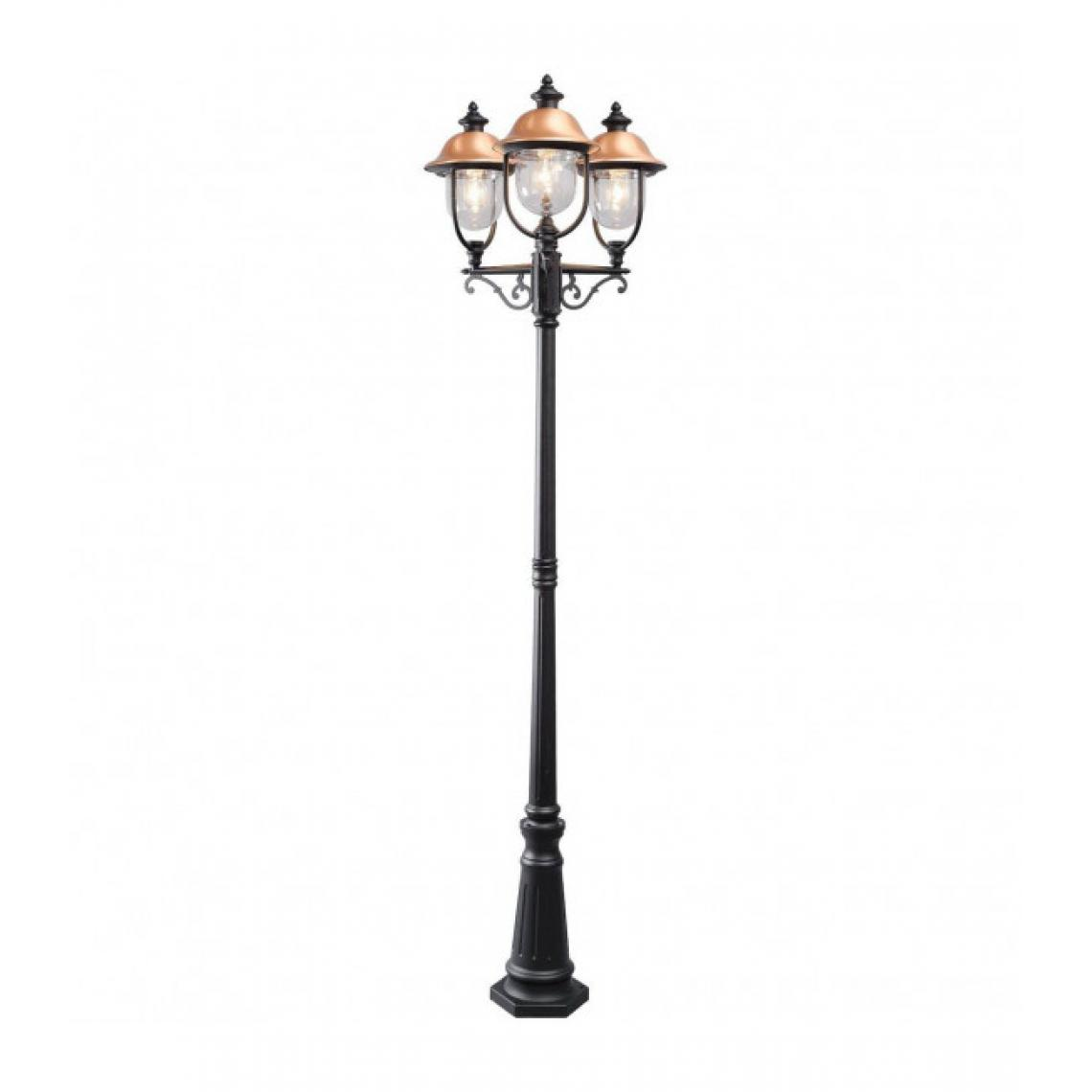 Mw Light Borne d'extérieur noire Street 3 ampoules 231 Cm