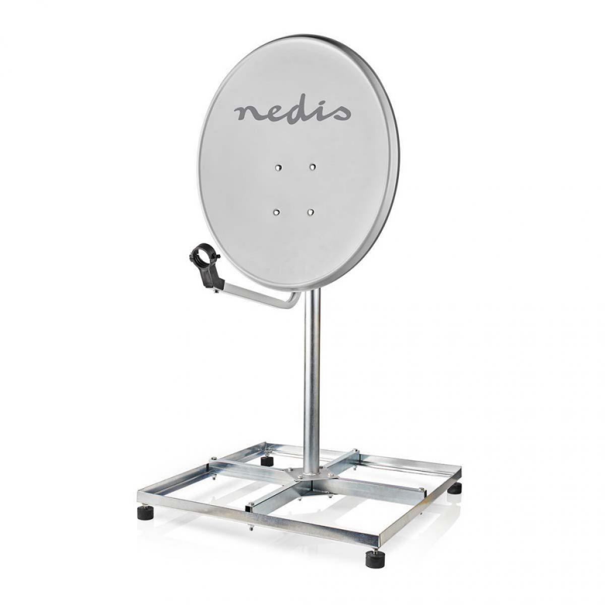Nedis Socle de Satellite pour Balcon | Taille Maximale de l'Antenne Parabolique : 90 cm | 4 x 30 x 30 cm | Acier