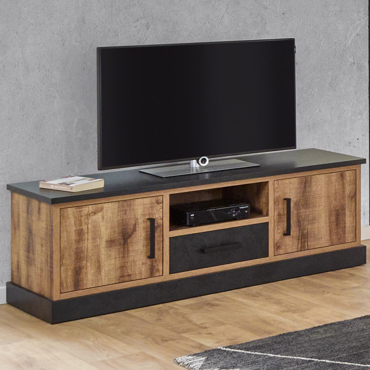 Nouvomeuble Banc TV 140 cm couleur bois foncé OSWALD