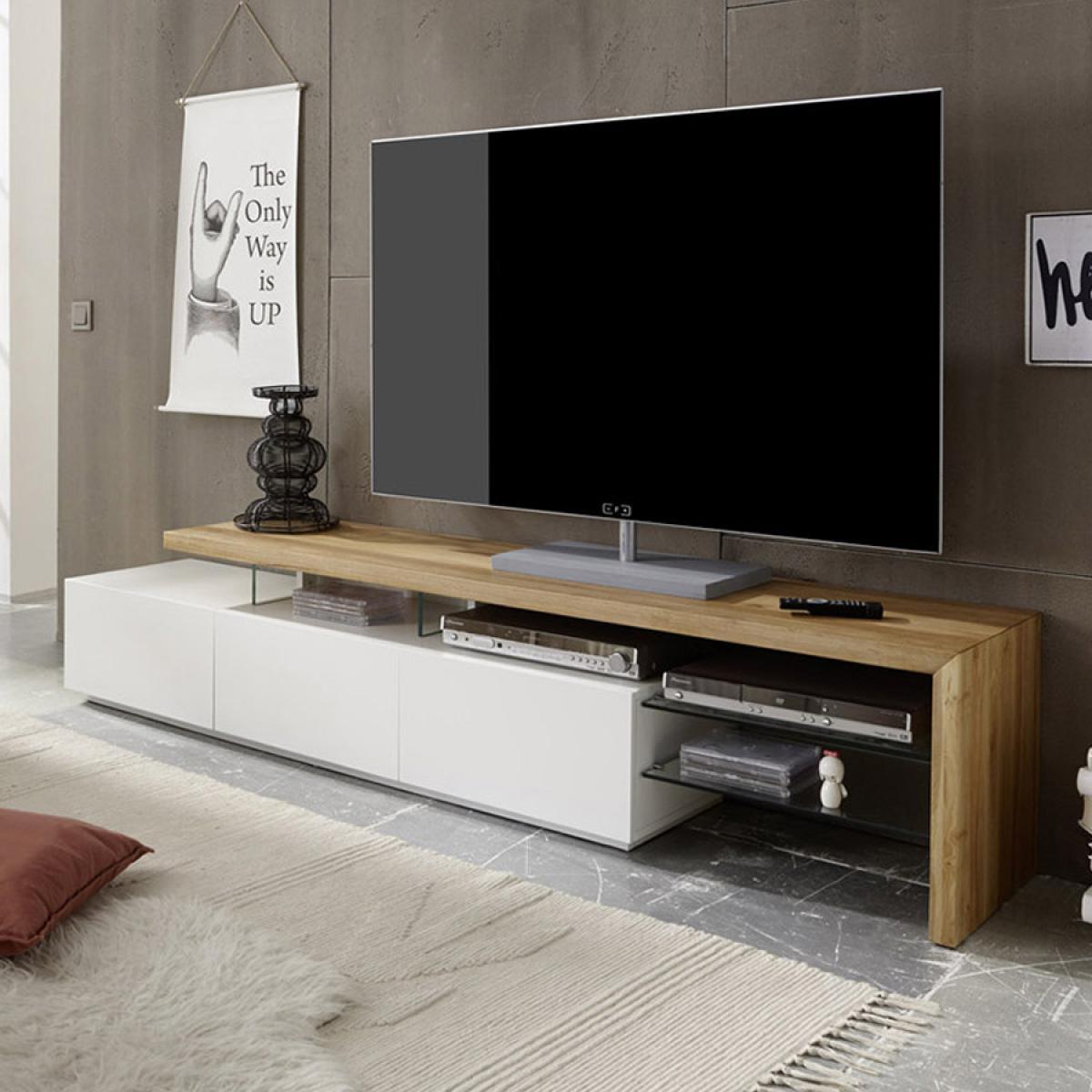 Nouvomeuble Banc TV 200 cm moderne blanc et couleur chêne ALISON