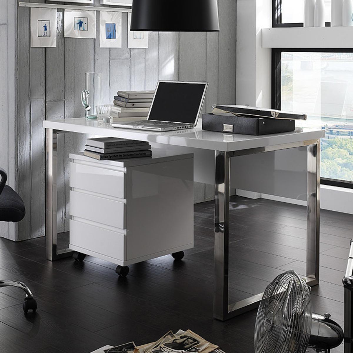 Nouvomeuble Bureau blanc design laqué SYBILLE