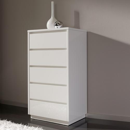 Nouvomeuble - Chiffonnier blanc laqué 5 tiroirs MELINA - Commode