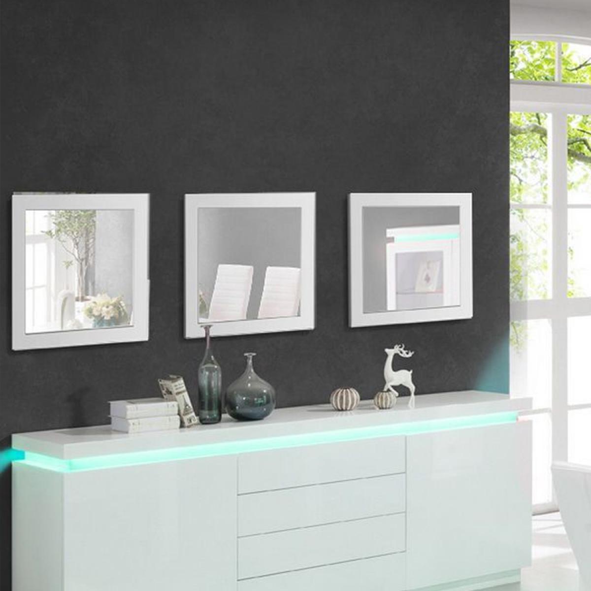 Nouvomeuble Miroir carré design blanc LEDOR (lot de 3)